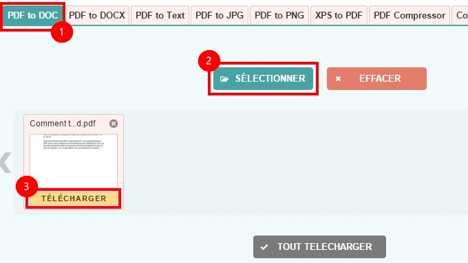 transformer pdf en word via pdf2doc